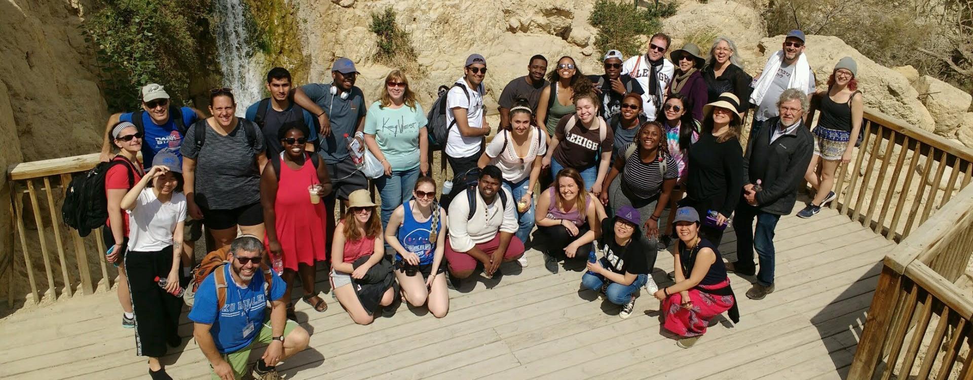 2019 Trip to Israel-Palestine Travelers hiking the Ein Gedi Oasis