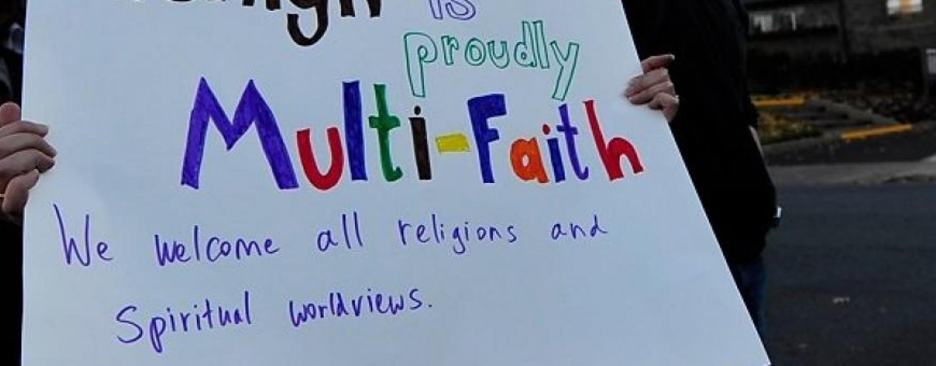 Multi-Faith Sign at Peaceful Lehigh Rally